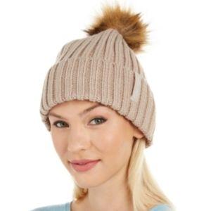Calvin Klein  Faux-Fur Pom Beanie